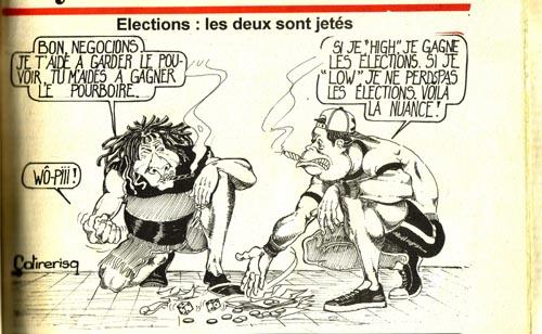 Caricature de Eyadéma (en casquette) à l'époque du journal satirique Kpakpa désenchanté