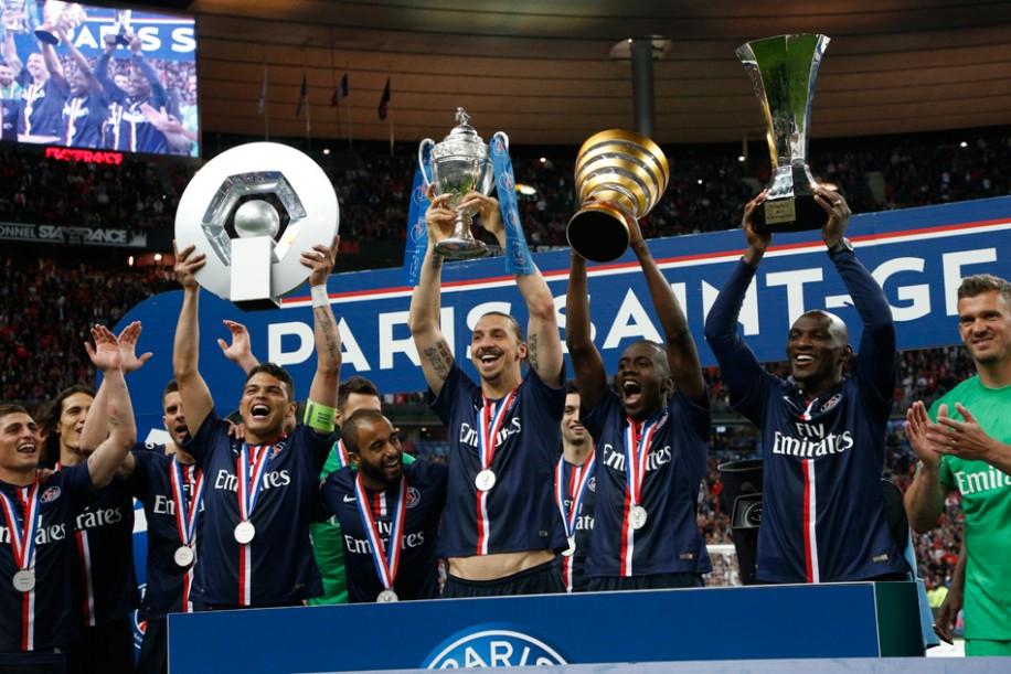 Les 4 trophées - Image : psg.fr
