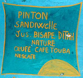 Pancarte d'un vendeur - Photo : www.planete-senegal.com