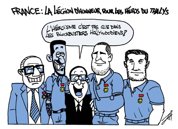 Les héros du Thalys - Caricature de Jeffikapi (http://jeffikapi.mondoblog.org)