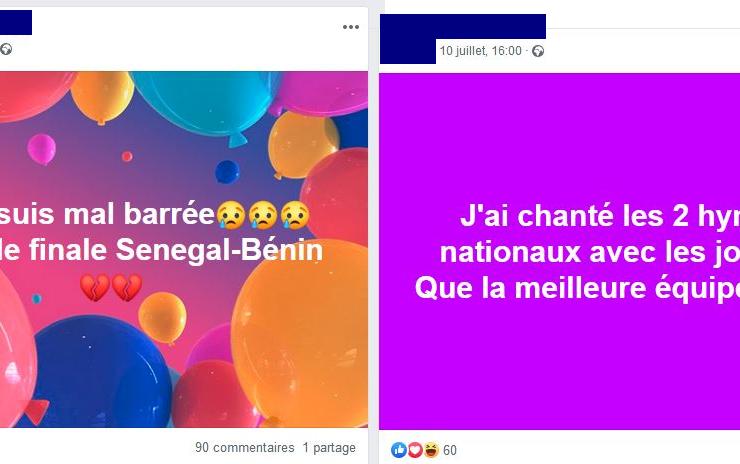 Deux posts Facebook traduisant le sentiment de Sénégalais d'origine béninoise - Montage : Roger Mawulolo