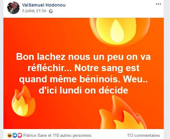 Capture du post Facebook de Valéry Samuel Hodonou, sur le match Sénégal-Bénin (avec son aimable autorisation)