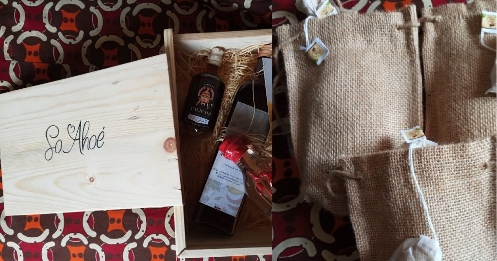 """Un box """"So ahoé"""" ouvert et des paquets de thés à infuser """"Ginger & Spices"""" - Photos : Roger Mawulolo"""